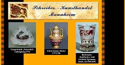 Kunsthandel Schreiber Mannheim, Handel mit alter Kunst, Porzellan, Glas 18./19. Jahrhundert, Gemälde, Miniaturen, Graphik Varia