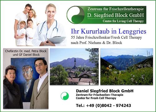 Bilder von Dr. med Petra Block und Daniel Block, Kururlaub in Lenggries, Zentrum für Frischzellen-Therapie