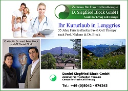 Frischzellentherapie Dr. Siegfried Block Lenggries, Frischzellenkur-Kurklinik Dr. Block Deutschland