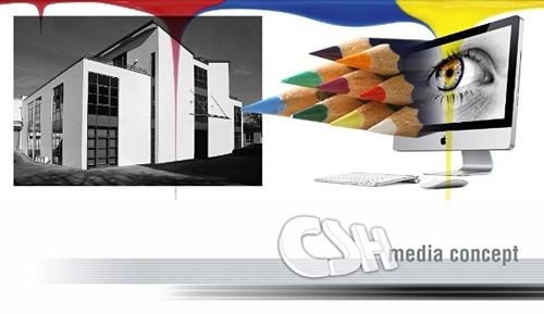 Logo und Geschäftsstelle der CSH media concept e.K. Jörg Sandlos in Mannheim