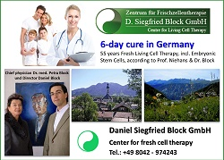 Dr. Niehans Dr. Block fresh living cell therapy, cell therapy Germany, embryonic stem cell therapy Dr. Siegfried Block