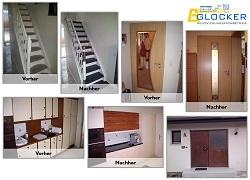 Glocker Renovierungen Mannheim, vorher nachher Beispiele von Treppenrenovierung, Türenrenovierung und Küchenrenovierung