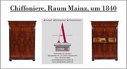 Auf dem Bild sehen Sie: Chiffoniere, Raum Mainz, um 1840, Mahagoni furniert, mit Sekretärfächer in Esche furniert